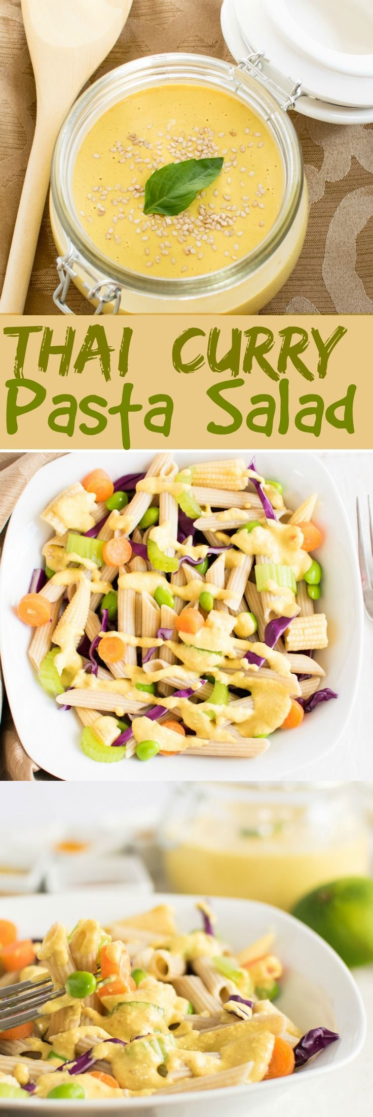 Thai Curry Pasta Salad | a complete balanced vegan meal with the combination of Thai flavors and pasta and lots of fiber that you can't stop loving | kiipfit.com