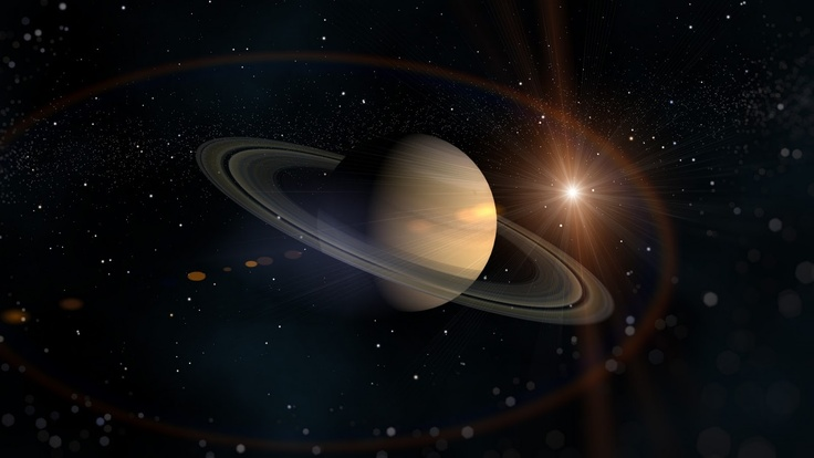 Outer Space Lights Stars Planets Rings Bright HD