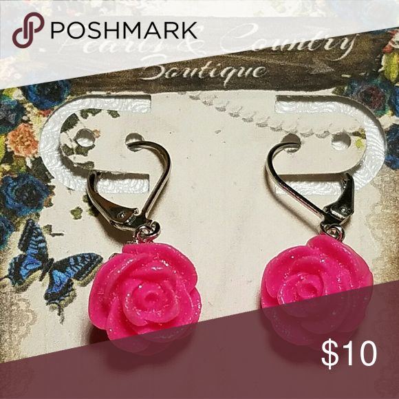 Resin pink rose earrings Pink resin rose Rhodium lever back hooks  1/2 inche Jewelry Earrings