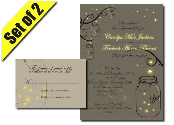 Printable Mason Jar Fireflies Wedding Invitation RSVP by DigiFoto, $24.99