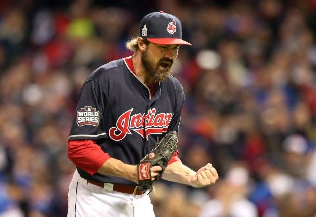 Cleveland Indians pitcher Andrew Miller reacts after getting out of a based loaded jam in top of the 7th against Chicago, in game one of the World Series, Tuesday, October 25, 2016.  Indians won game one of the World Series 6-0 (Chuck Crow / The Plain Dealer)