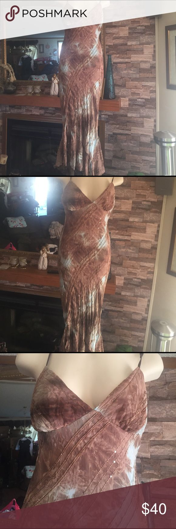 Brown and baby blue maxi dress GiGi size medium brown and baby blue sequinned tye dye maxi sun dress. Flowy at bottom with small slits GiGi New York Dresses Maxi