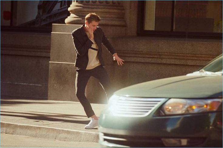 Dancing, Nathan Mitchell rocks a H&M shirt jacket.