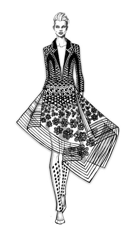Fashion illustration - fashion design sketch // Rahul Mishra