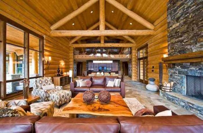20 Stunning Chalet Living Room Decor Ideas And Makeover Cabin Interior Design Cabin Living Room Log Cabin Interior
