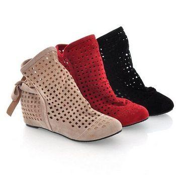 Women Summer Boots Flock Flat Shoes Low Hidden Wedges