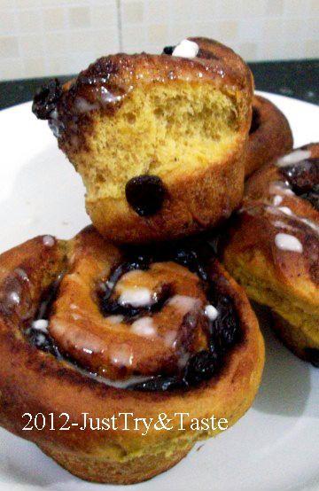 Obsesi Roti 17: Pumpkin Cinnamon Raisin Rolls - Roti Gulung Labu Kuning dengan Kismis dan Kayu Manis | Just Try & Taste