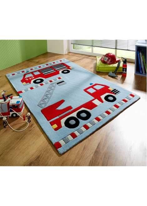 Jetzt anschauen: Hochwertiger Handtuft Teppich mit aufwendigem Konturenrelief und Feuerwehr-Motiven, strapazierfähig und pflegeleicht, geeignet auch für die Fußbodenheizung, Rückseite mit textiler Bespannung, alle Maße sind ca. Maße.