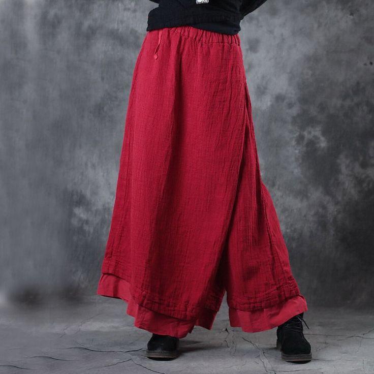 Spring Fashion Layering Linen Wide Leg Pantskirt Womans Red Palazzo Pants    #pants #linen #red #flax #wideleg #amazing #style #vintage #trousers #pantskirt