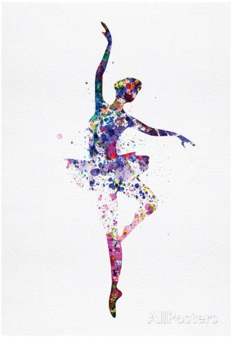 Ballerina Dancing Watercolor 2 Posters por Irina March na AllPosters.com.br