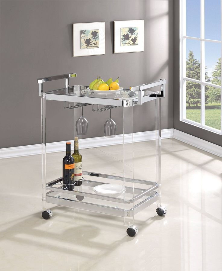 Clear Acrylic Tempered Glass Shelves Serving Cart