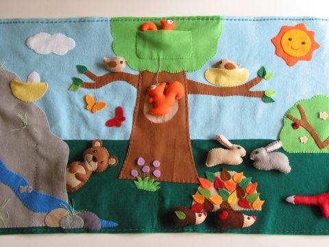 Varázslatos erdő- interaktív játszópad  12db állatkával, Baba-mama-gyerek, Játék, Készségfejlesztő játék, Meska