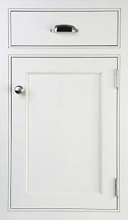 White inset door with brushed nickle hardware and hinges. Cabinet ...
