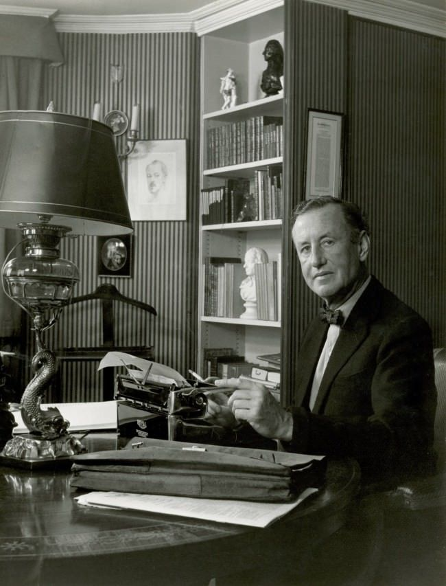 Ian Fleming working at home