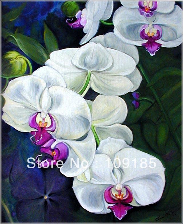 Китай искусство белая орхидея цветочные ткани картина конструкции
