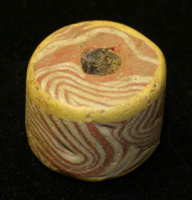 One of the Saxon glass beads (AD410-1066) recovered from Cliffs End in Kent