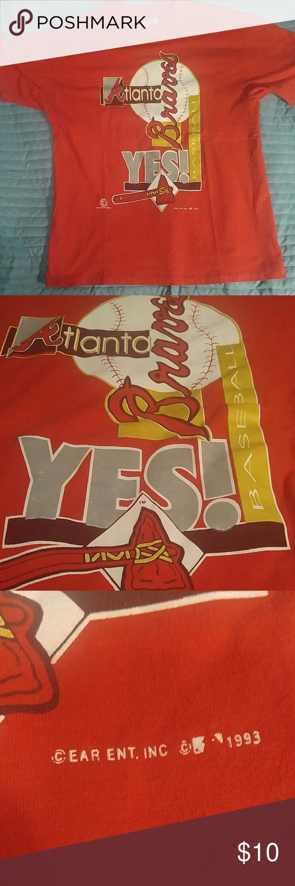 "Vintage Atlanta Braves t shirt L Beautiful vintage Atlanta Braves Baseball ""Yes!"" t shirt from the Braves' golden era in the 90's. Just added but on sale this weekend as part of my Opening Day Sale. Rare item, get it while you can! Shirts Tees - Short Sleeve"