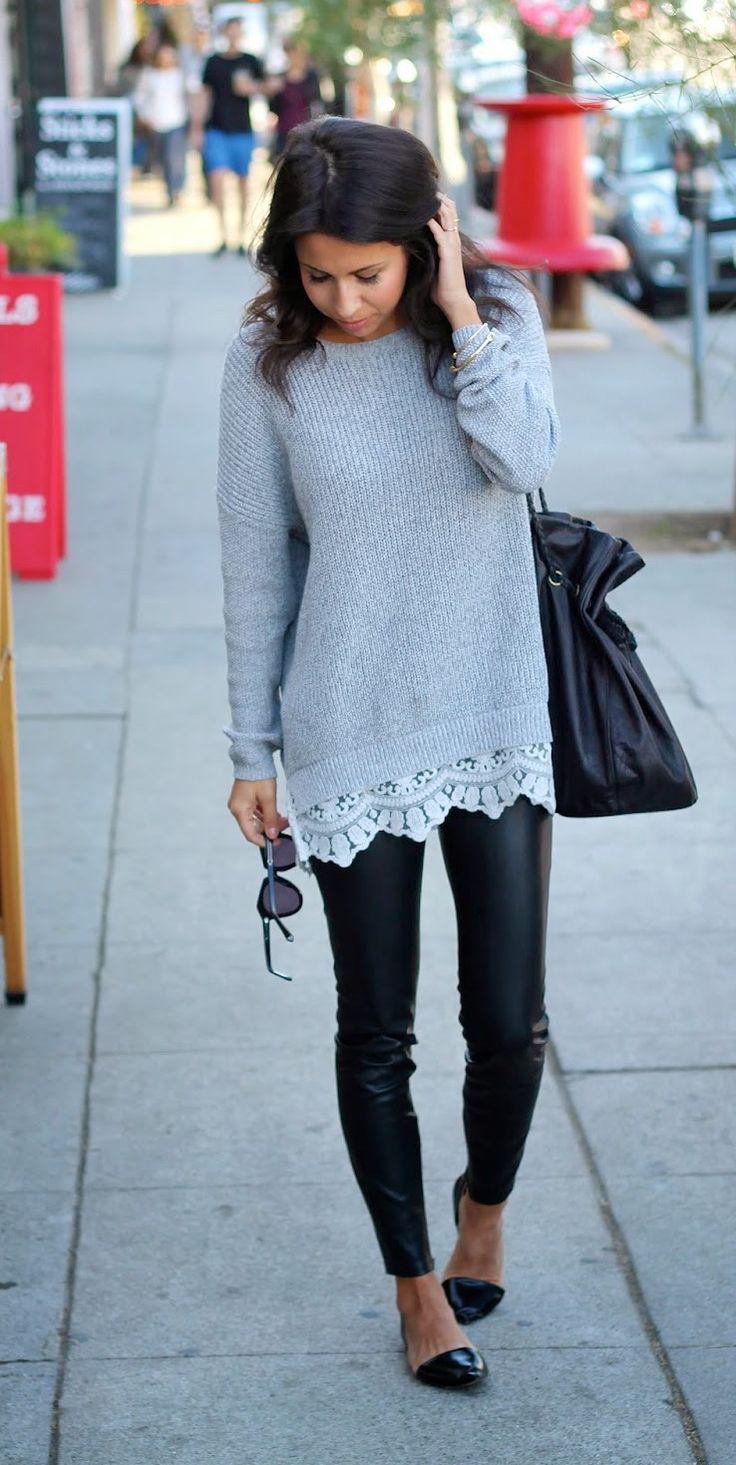 Love the touch of lace at the bottom of this sweater. Don't know how I feel about the leather leggings but I do love tops I can wear with leggings