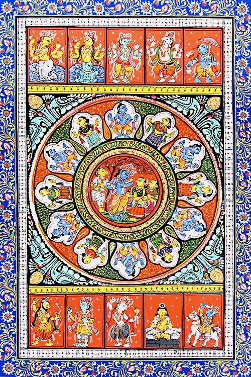 Dashavatara and Raas Lila of Krishna (Orissa Paata Painting on Canvas - Unframed))