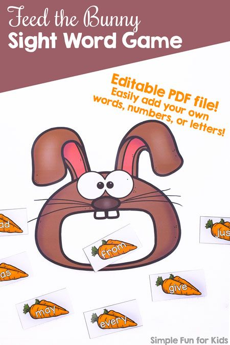 Feed the Bunny Sight Word Game Printable   ***Firsties