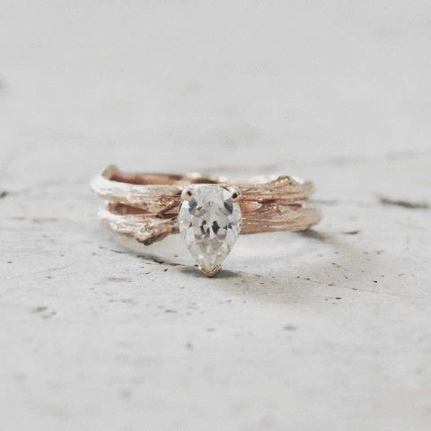 pear shaped engagement ring   Twig engagement ring   14k rose gold ring   Moissanite center stone