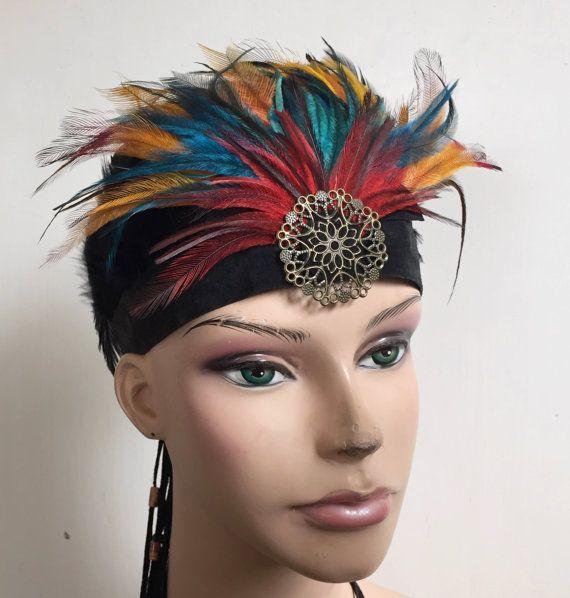 Feather Headband//Feather Headdress//Tribal Feather by HeidiHaHa
