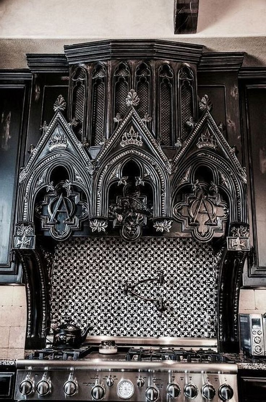 25+ Amazing Gothic Black Kitchen Interior Design I…
