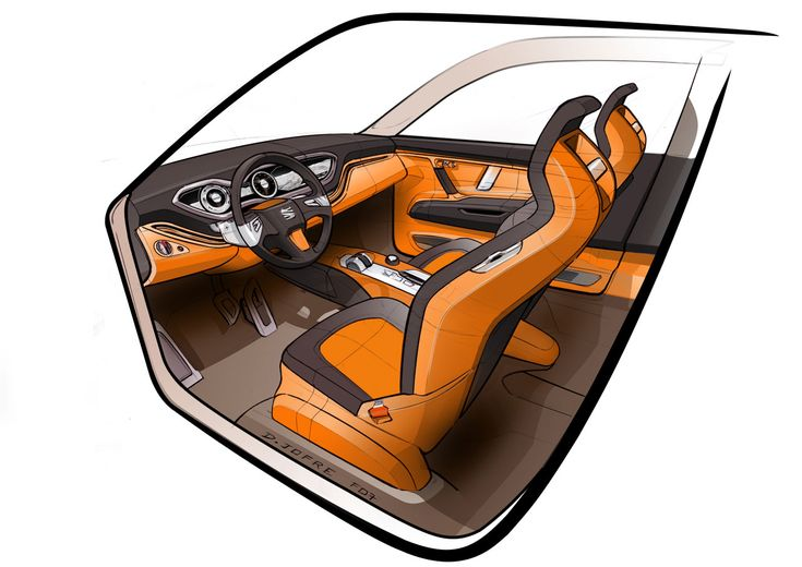 seat tribu concept interior sketch orange black grey custom could use brown auto addiction. Black Bedroom Furniture Sets. Home Design Ideas