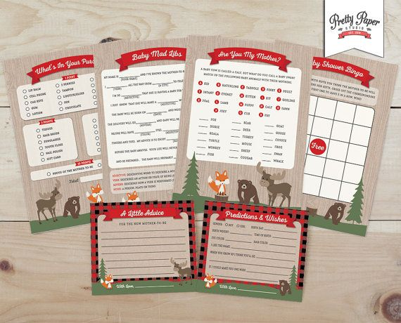 Baby Shower Game Pack - Buffalo Plaid Woodland // INSTANT DOWNLOAD // Lumberjack Baby Shower Games // Fox Moose Bear // Printable BS05