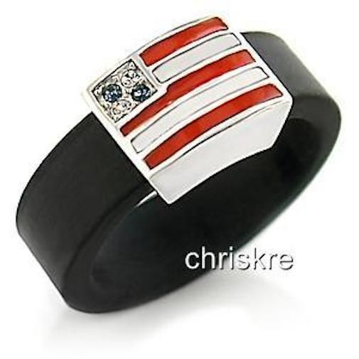 Sterling Silver USA Flag Ring Band Enamel Cubic Zirconia Stars Size 9 USA Seller #Unbranded #Band