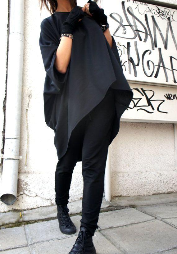 Oversized Loose Extra Large Black Blouse / Asymmetric Tunic Top