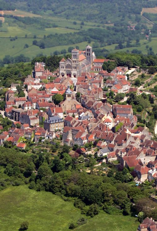 Burgundy, France - The pilgrimage town of Vézelay, one of Burgundy's most famous treasures with the Romanesque Basilica of St Mary Magdalene, craft shops and fine views of the surrounding countryside.