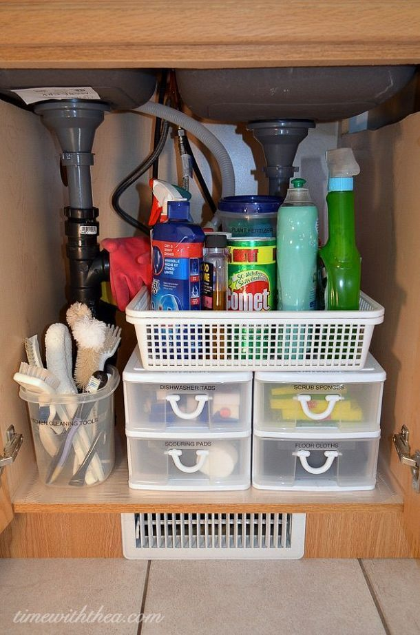 she bought clear ribbed shelf liner and plastic drawers and look what she did under her sink under sink organizationkitchen cabinet - Sink Cabinet Kitchen