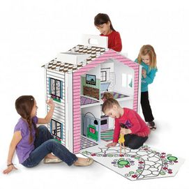 Now kids can colour-in their own play doll house to give it a look all their own. It's a fun way to improve their artistic and design skills while creating a place they can play in for years to come. Recycled materials are used so you can feel good about the gift you are giving. Kids can colour-in their own play house for their own custom look PTPA Award Winner Sets up in minutes Made from recycled material Ages 3 years and up