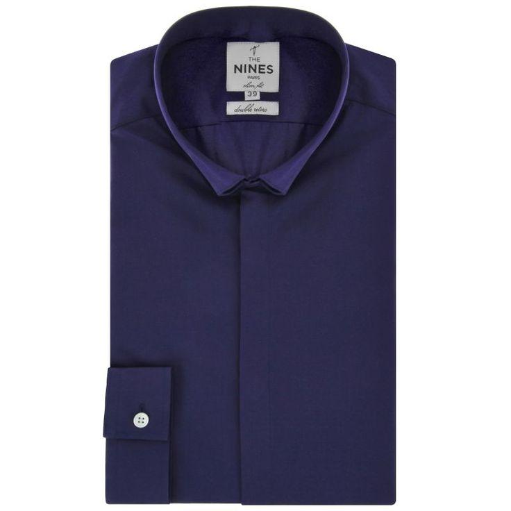 Chemise bleu marine col inversŽ slim fit