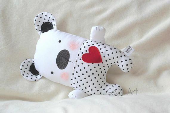 Black and White Polka dot Handmade Stuffed Teddy Bear Soft Toy