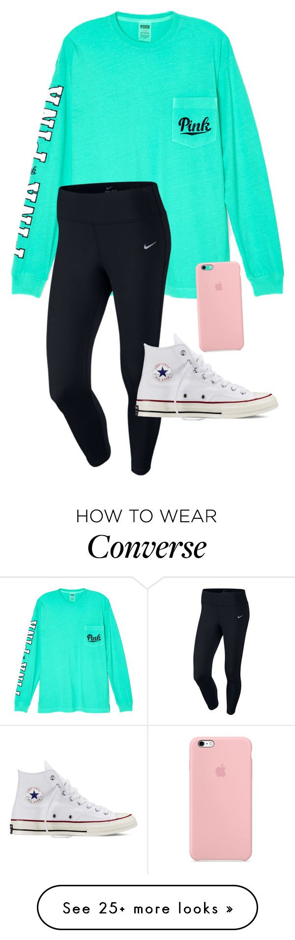 """Saturdays//Cara Elizabeth"" by pearls-and-prep on Polyvore featuring Victoria's Secret, NIKE and Converse"
