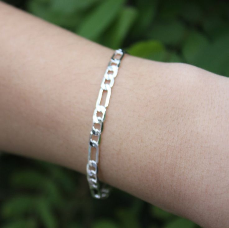 BIGGIE LARGE SILVER Chain Bracelet by esmecollection on Etsy