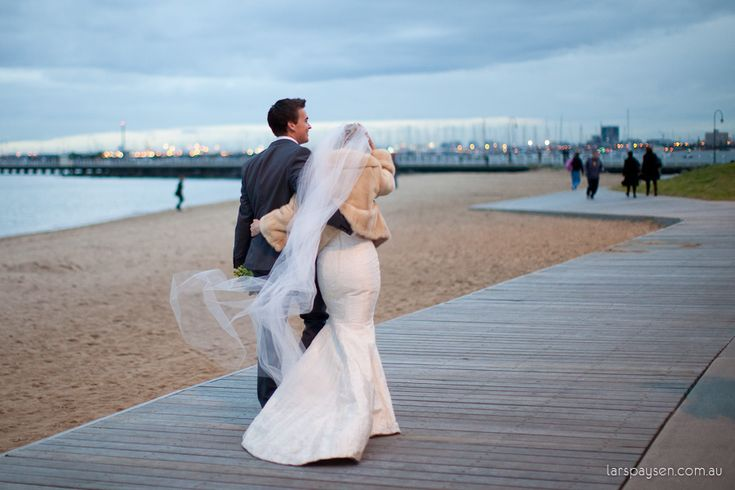 Eleanor & Karl making a winter wedding look glorious at Encore St Kilda Beach