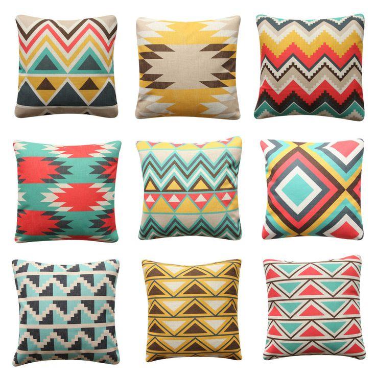Aztec BOHO Tribal Cushion Cover Yellow Geometric Pillow Cover Sofa Cushion