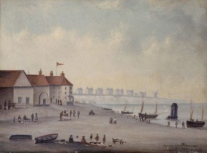 """Oil painting from the Fine Art collection. """"The Old Fish Market, Brighton"""" showing Brighton beach with large red-roofed buildings on the left and people gathered around baskets of fish in the foreground. To the right is the sea with fishing boats and a bathing machine. 1825."""