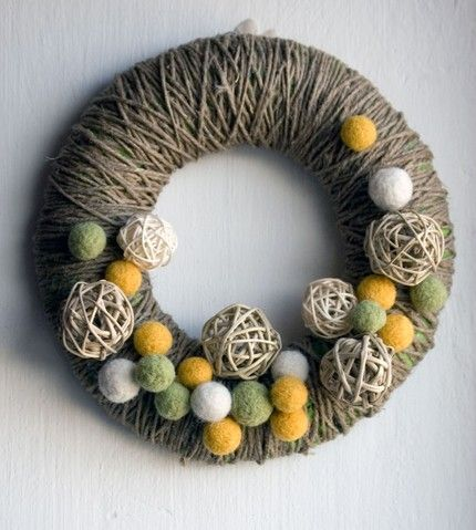 yummy wreath @Aleta Eley what are these balls??? the mustard, olive & cream ones??? felt balls? and if so... how do i make or buy them?! thank you all knowing lady!
