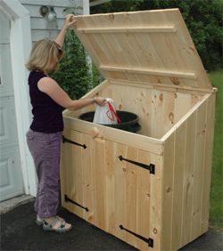 Cedar Outdoor Storage Sheds For Trash Can and Recycling Bin Storage