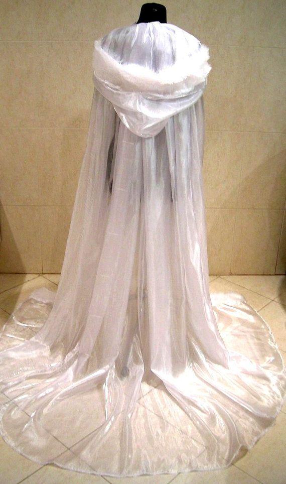 FUR medieval cloak white cape wedding dress costume by astrastarl