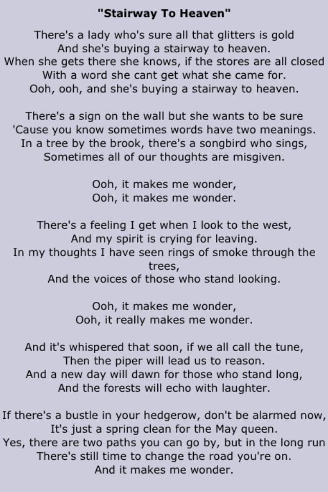 Quot Stairway To Heaven Quot Rock Music Lyrics Led Zeppelin Lyrics Great Song Lyrics