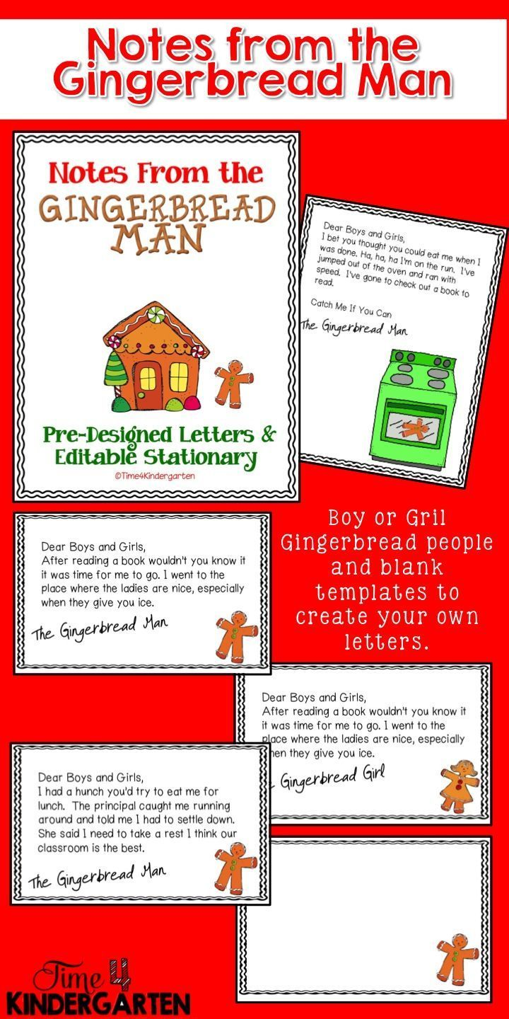 Gingerbread man notes. Create a Gingerbread Man hunt through your school with these fun notes that he or she leaves behind.