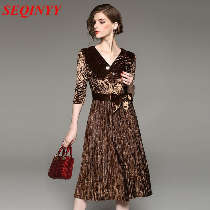 Vintage Elegant Dress 2017 Autumn Brown/Green 3/4 Sleeve V-Neck Pleated Belt Cultivate A-Line Large Swing Women New Mid Dress. Yesterday's price: US $69.00 (57.06 EUR). Today's price: US $58.65 (48.26 EUR). Discount: 15%.