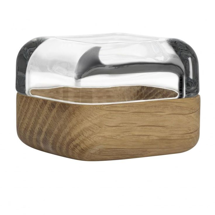 iittala - Vitriini Glasschaukästchen mit Holzschale - eiche/transparent/Größe 1/6 x 6cm