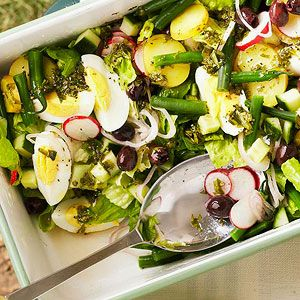 Colorful veggies, olives, and hard-cooked eggs make up this quick French Chopped Salad. More party recipes: http://www.bhg.com/recipes/party/party-ideas/heart-healthy-potluck-recipes/#page=18 #myplate