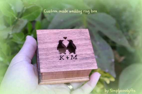 Penguin wedding ring box